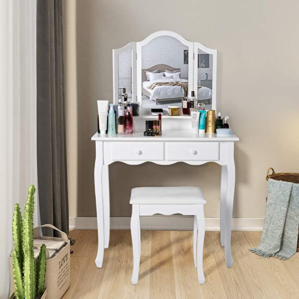 Kinbor Vanity Set Dressing Table With 4 Drawers Tri Folding Necklace Hooked Mirror Makeup Dressing Table With Cushioned Stool White