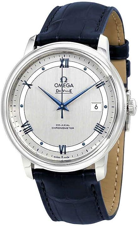 Orologio omega de ville co-axial automatica cronometro cinturino in pelle blu 424.13.40.20.02.003
