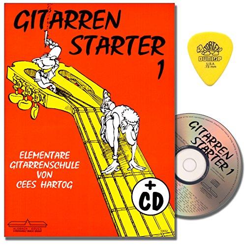Gitarrenstarter Band 1 - Gitarrenschule mit CD für Anfänger von Cees Hartog - mit Original Dunlop PLEK