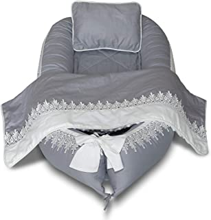 Baby Lounger, Baby Nest Lace Portable Super Soft 100% Cotton and Breathable Newborn Lounger 4 Pcs Set/Grey - Perfect for Co-Sleeping …