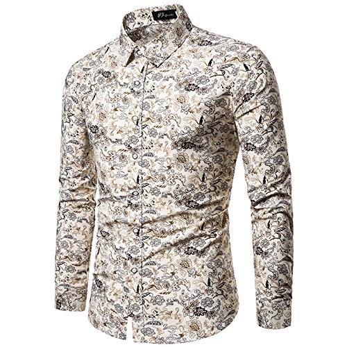 Camisa de Manga Larga con Cuello Vuelto para Hombre, Camisa Informal con Botones, Camisas Estampadas Florales de Moda para Hombres, Nuevas Camisetas de otoño para Hombre