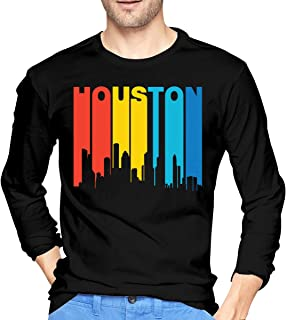 Retro 1970's Style Houston Texas Skyline Men's Long Sleeve T Shirts Crew Neck Tees