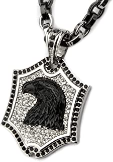 Black Onyx Eagle Stainless Steel Cz Stones Mens Shield Necklace