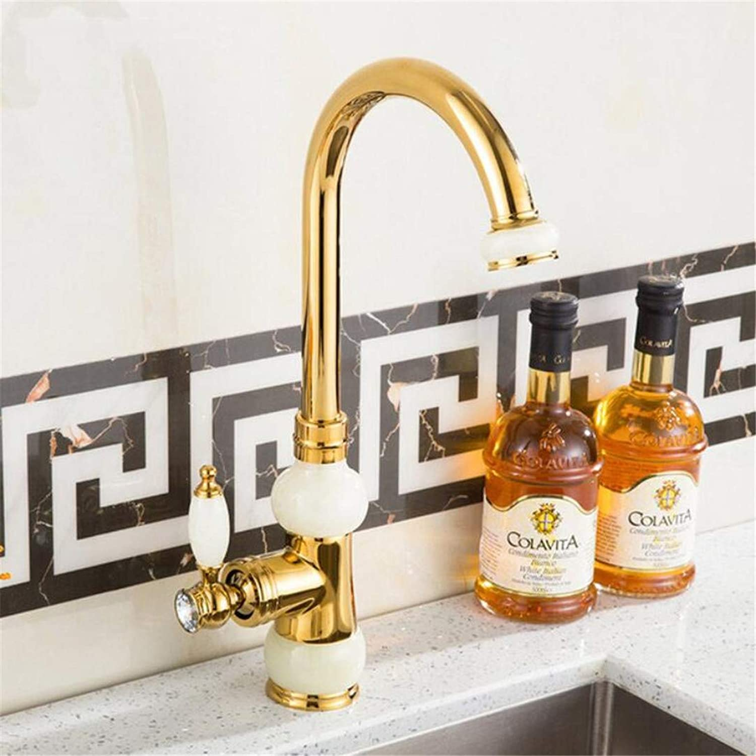 Faucet Washbasin Mixer360 Degree Swivel Basin Faucets Euro gold Washbasin Faucet Luxury Tall Taps Single Handle Vanity Single Hole Mixer Water Taps