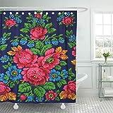 Leona Chesterton Cortina de Ducha Tejido de poliéster Impermeable Costura Colorida Bordado Estampado Rosas Grandes Flores Crochet Wenge Set Ganchos Baño Decorativo