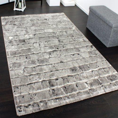 Paco Home Edler Designer Teppich mit Steinwand Optik in Grau Schwarz Meliert, Grösse:120x170 cm