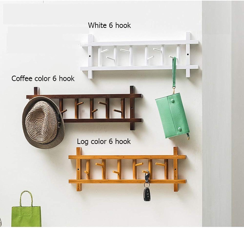 Household Wall Hanging Coat Rack Wall Bedroom Hook Door Hanger Storage clothes rack (color   White 6 Hook)