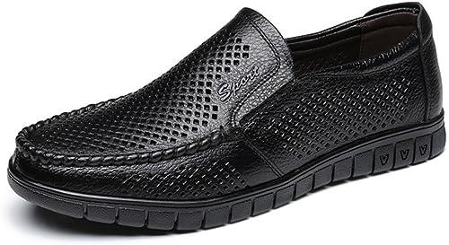 JIALUN-Schuhe Klassische Mode Herrenschuhe Slipper aus echtem Leder mit Flacher Sohle (Perforation optional) (Farbe   Perforation BLK, Größe   8 MUS)