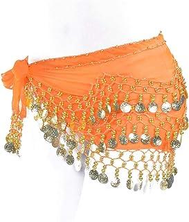 Vogue Style Chiffon Dangling Gold Coins Belly Dance Hip Skirt Scarf Wrap Belt