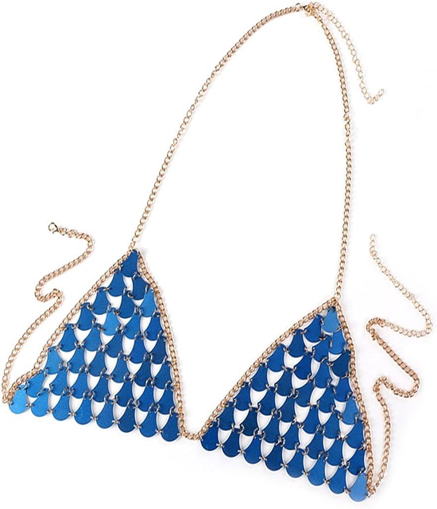 Jili Online Women Ladies Body Chain Bra Jewelry Bikini Beach Crossover Necklace Party