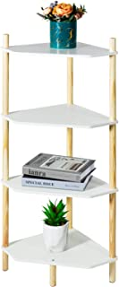 LITA Modern Wood Side Table, 4-Layer End-Table Storage Plant Stand with Magazine Storage for Bedroom, Living Room(White, 4...