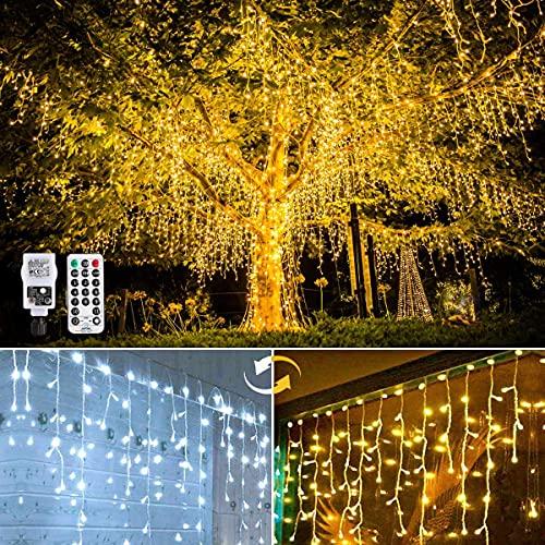 Luci Natale Esterno Cascata, GMINCO 440 LED cascata luci catena luminosa con telecomando 11 modalità bianco caldo e freddo tende luminosa, per feste, casa, Natale, finestra, matrimonio