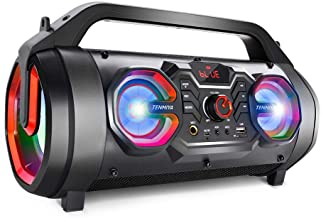 Portable Bluetooth Speakers, 30W Loud Outdoor Speakers with Subwoofer, FM Radio, RGB..