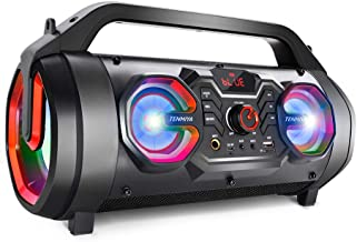 Bluetooth Speakers, 30W Portable Outdoor Boombox with Subwoofer Colorful Lights, EQ, Stereo Sound, Booming Bass, 10H Playtime Wireless Speaker for Home Party, Camping, Travel