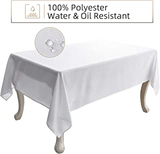 Ethlomoer Rectangle TableCloth 60x102 Inch, Water & Oil Proof and Spill-Proof, Wrinkle Resistant, Washable Polyester Table Cover for Dinning Party Outdoor & Indoor Use, White 60x102 Inch