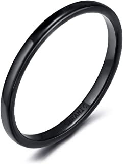 2mm 4mm 6mm Black/White Ceramic Rings for Men Women Comfort Fit Engagement Wedding Band Size 4-12