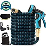 "10. 50ft Expandable Garden Hose, Leakproof Flexible Water Hose, with 10 Function Sprayer and 4-Layers Latex Core, Upgraded Expanding Hose with 3/4"" Solid Brass Fittings, Free Premium wool Car Wash Mitt"