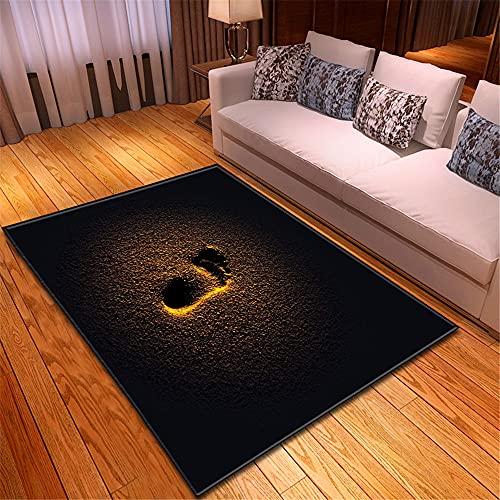 XuJinzisa Vista Al Mar Huella De Playa Alfombra De Impresión 3D Suave Antideslizante Habitación De Los Niños Sala De Estar Dormitorio Alfombra Decorativa para El Hogar 120X120Cm H11645
