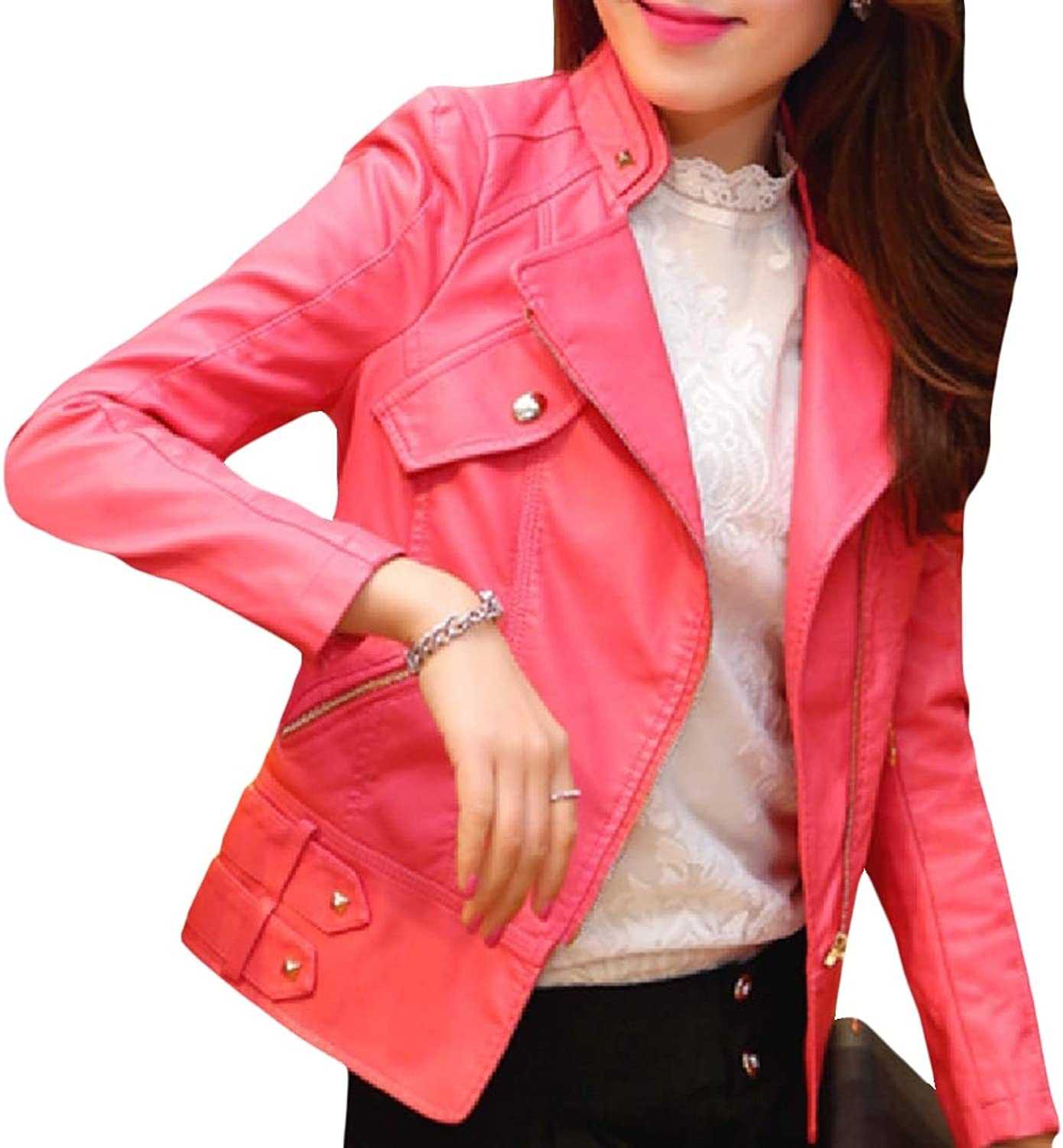 color&W Womens Solid color Short Mini Skinny Turn Down Collar PU Coat