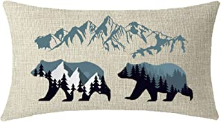 ITFRO Enjoy Holiday Outdoor Sports Forest Landscape Wildlife Animal Bears Mountains Lumbar Waist Cotton Linen Throw Pillow Case Cushion Cover Couch Sofa Decorative Rectangle 12x20 inches