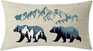 ITFRO Enjoy Summer Holiday Outdoor Sports Forest Landscape Wildlife Animal Bears Mountains Lumbar Waist Cotton Linen Throw Pillow Case Cushion Cover Couch Sofa Decorative Rectangle 12x20 inches