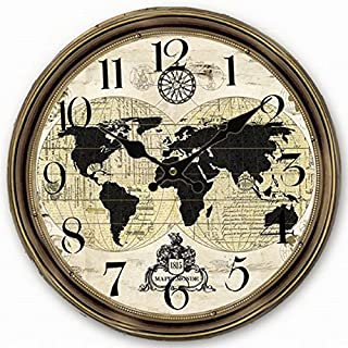 Telisha Wooden Wall Clock World Map Globe Map Brown Clock Retro Vintage Large Clock Home Decorative Country Non -Ticking Silent Quiet 14 Inch Gift