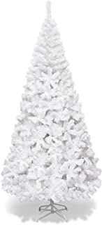 Goplus Artificial Christmas Tree Xmas Pine Tree with Solid Metal Legs Perfect for Indoor and Outdoor Holiday Decoration (White, 7 FT)