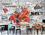 Papier Peint Mural 3D Personnalisé Mur Cassé Mur De Briques Restaurant De Homard Mur De Fond De Magasin De Barbecue-430Cmx300Cm