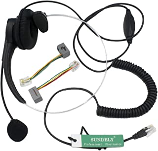 SUNDELY Call Service Headset with Adjustable Boom Volume Control Mic 4-pin RJ9 Modular Connector for Telephone/IP Phone Nortel Networks (Northern Telecom) Packet 8 Panasonic Polycom Safecom ShoreTel