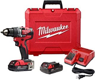 Milwaukee 2801-22CT M18 18-Volt Lithium-Ion Brushless Cordless Compact 1/2 Inch Drill/Driver Kit with 2 Batteries 2.0 Ah, ...