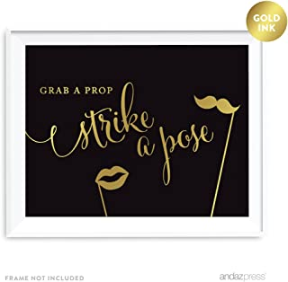 Andaz Press Wedding Party Signs, Black and Metallic Gold Ink, 8.5x11-inch, Grab a Prop & Strike a Pose Photobooth Sign, 1-Pack