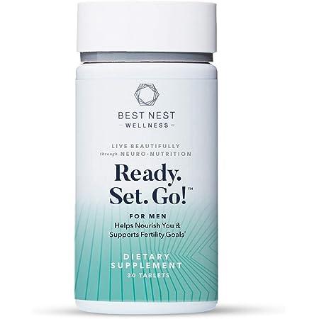 Ready. Set. Go! Fertility Support Prenatal Supplement for Men, Methylfolate, Natural Whole Food Men's Multivitamin, Organic Herbal Blend, Immune Support, 30 Ct, Best Nest Wellness
