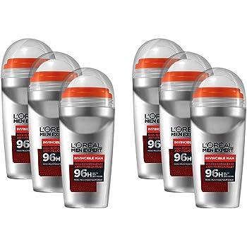 Desodorante LOréal Men Expert Roll-On, pack de 6 unidades de Invincible Man, desodorante deportivo para hombres, controla la sequedad y el olor corporal (6 x 50 ml): Amazon.es: Belleza