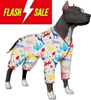 LovinPet Large Dog Clothes Post Surgery Wear, Dog Pajamas, Pitbull 100% Pure Cotton Large Dog Shirt for Labrador Doberman Boxer Short Hairs breed Dog Lightweight Pullover Pajamas/Full Coverage Dog pjs