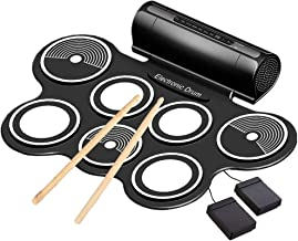 Electronic Drum Set for Kids Roll Up Beginner Drum Set Practice Drum Pad USB MIDI Built in Speaker Drum Pedals Musical Instrument Little Drummer Gifts