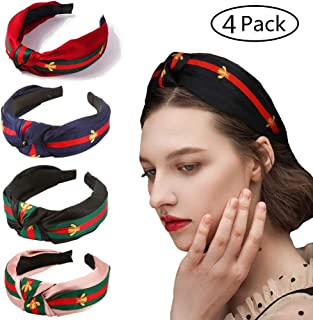 Colorful Stripe Headbands for Women -4 Pack Hair Hoops with Bee Animal - Cross Knot Hairbands with Cloth Wrapped for Girls