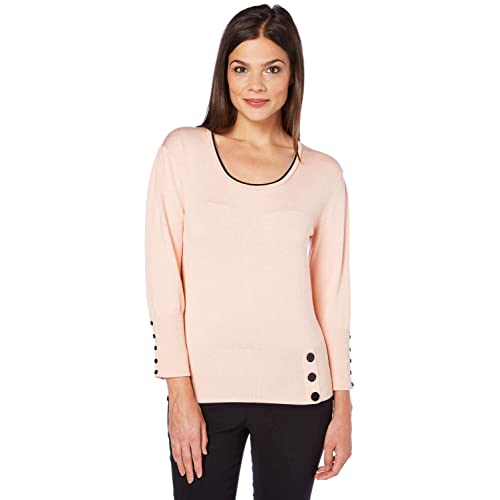 c33514771bb4 Roman Originals Women's Contrast Button Detail Jumper - Ladies Jumpers for  Casual Everyday Office Work Smart