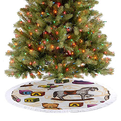 Christmas Tree Mat Retro Style Kids Toys Rocking Horse Teddy Bear and Bird Illustration Print 2020 New Christmas Tree Skirt Decoration Match Perfectly with Your Christmas Tree Brown and Grey 48 Inch