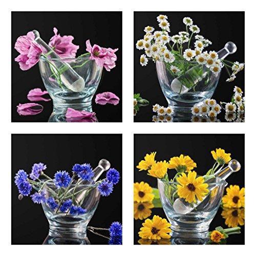Bilderwelten Glasbild Wandbild Glas Kunstdruck Blumen im Mörser 4X 30x30 cm