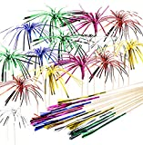 Penta Angel Foil Firework Cupcake Toppers 50Pcs 9 Inch Multicolor Cake Cocktail Food Fruit Drinks Picks Toothpick Sticks for Christmas Birthday Wedding Bridal Shower Graduation Party Decoration