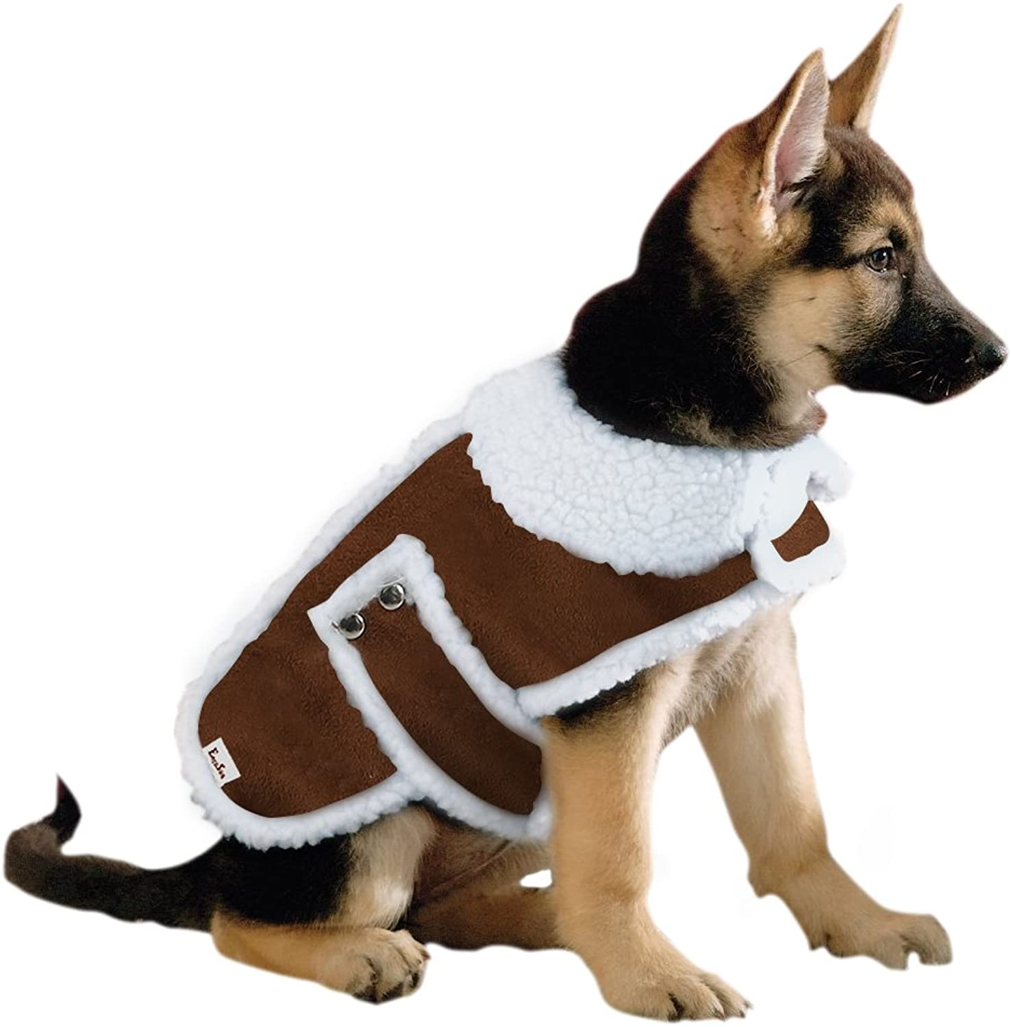 EocuSun pet clothes coat dog clothes jacket winter clothes fall and winter clothes Sleeveless warm windproof adjustable belt with small medium large dogs and cats applicable L