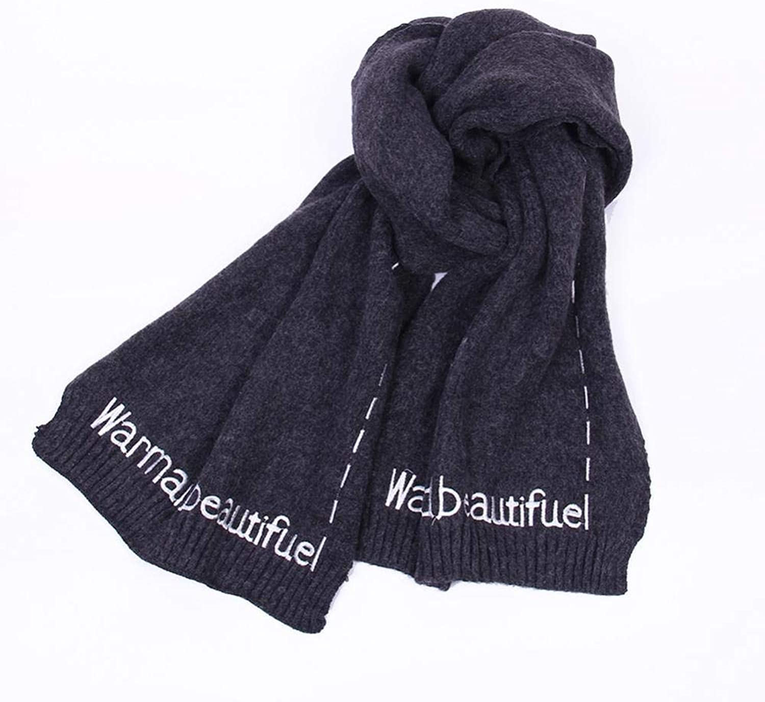 NuoEn Scarf, Wool Knit Solid color Scarf Thickened Winter Warm Embroidery Scarf Student Girl