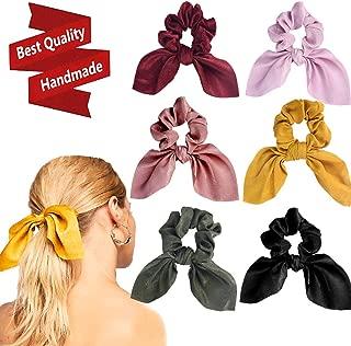 6PCS Hair Scrunchies Satin Slik Rabbit Bunny Ear Bow Bowknot Scrunchie Bobbles Elastic Hair Ties Bands Ponytail Holder for Women Accessories