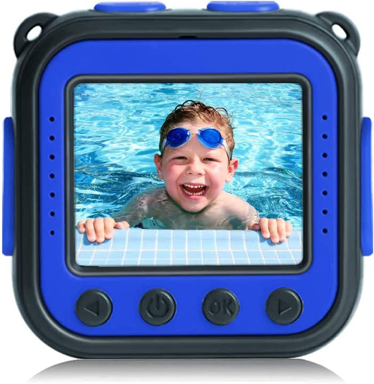 [Upgraded] PROGRACE Kids Waterproof Camera Action Video Digital Camera for Kids 1080P Camcorder for Girls Boys Toys Gifts Build-in Game(Blue) Bundle with 32GB Micro SD Memory Card Class 10