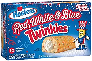Hostess Red White & Blue Twinkies LIMITED EDITION, 13.5oz,10 count Box (Red, White & Blue)