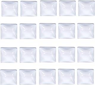 "IGOGO 50 PCS Square Clear Glass Dome Cabochon 25x25mm 1"" Non-calibrated Square - for Photo Pendants Mosaics Trays"