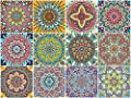 Syvia 12 Pcs Mandala Decorative Tile Stickers 6x6in?Peel and Stick Adhesive Tile Stickers?Staircase?Backsplash Tile Stickers.