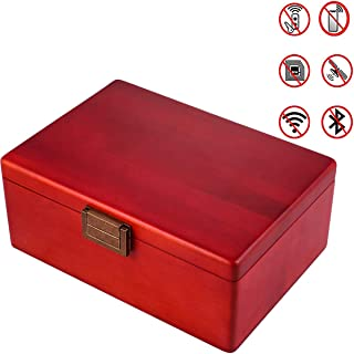 MONOJOY Phone Signal Large Blocker Box Faraday Cage for Car Keys and Cell Phones Birch Wood Keyless Entry Blocking Box, Vehicle Fob Anti-Theft Red Box Blocking WiFi 4G Bluetooth RFID RF