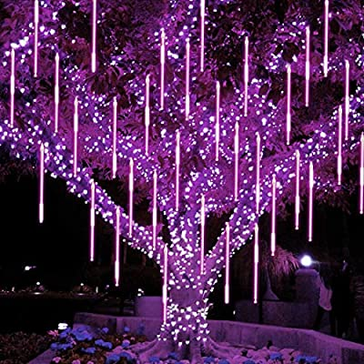 Twinkle Star Meteor Shower Rain Lights, 30cm 8 Tubes 288 LED Falling Raindrop Fairy String Light, Waterproof Plug in Icicle Lights Outdoor for Halloween Christmas Holiday Party Patio Decor, Purple