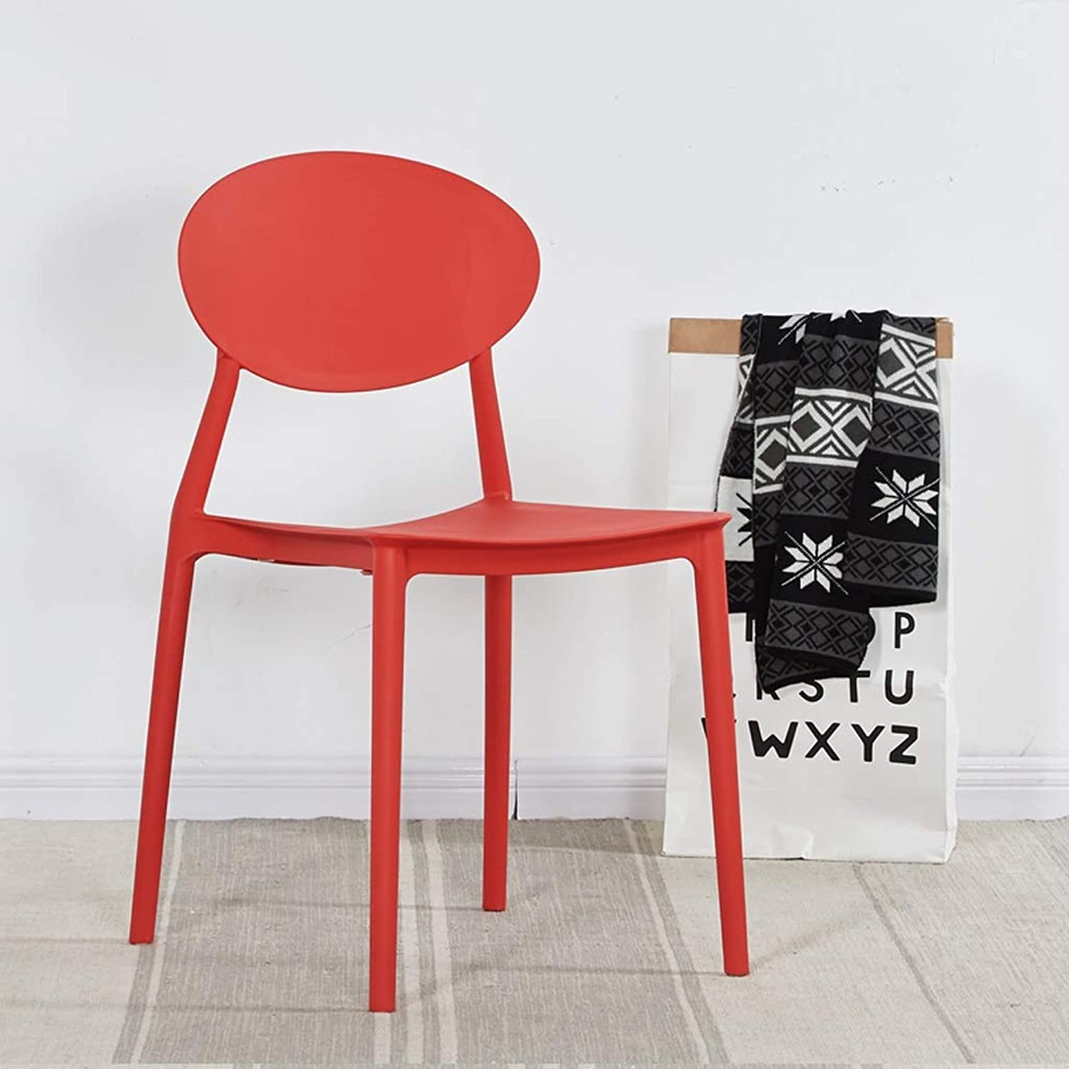 JSSFQK Chair Home Plastic Chair Coffee Shop Restaurant to Discuss Chair Simple Lazy Chair Multiple colors Chair (color   Red)
